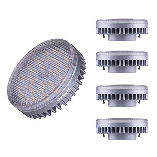 Lampaous LED GX53 Lampe 8W, ersatz für 60W Glühlampen, 6000K Kaltweiß 640 Lumen LED Energiesparlampe Unter-Einbauleuchte Schrankleuchte Kabinett Unterschrank Licht, 4er Pack