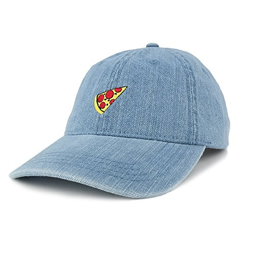 Armycrew Fashionable Distressed Denim Pizza Embroidered Accent Baseball Cap