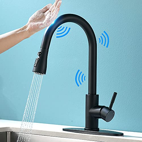 Touch On Kitchen Faucets with Pull Down Sprayer Latest Upgrade Smart Touchless Kitchen Sink Faucets with Deck Plate, Stainless Steel Black