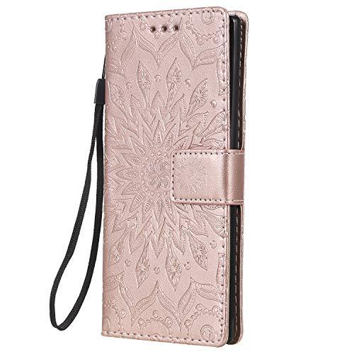 Docrax Handyhülle Lederhülle für Galaxy Note 10, Flip Case Schutzhülle Hülle mit Standfunktion Kartenfach Magnet Brieftasche für Samsung Galaxy Note10 - DOKTU020376 Rosa Gold
