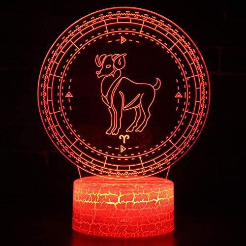 Lamp 3D illusie nachtlampje optische LED-serie 12 sterrenbeeld wind nacht 7 kleuren touchscreen nachtkastje slaapkamer tafel decoratie kinderlicht met USB-kabel