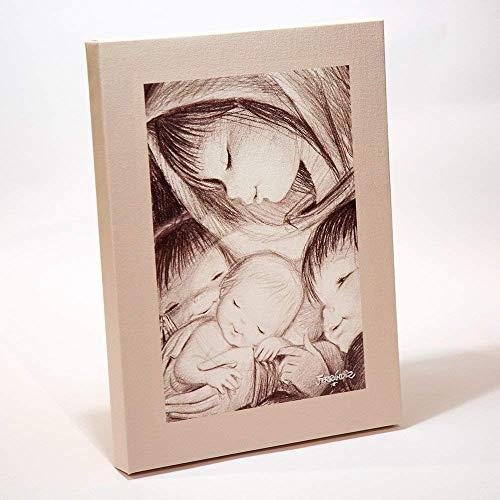 Cuadro Virgen b/n 30x40cm. Ilustración de Juan Ferrándiz impresa en lienzo. Serie limitada y numerada. Regalo Comunión y Bautizo