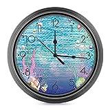 DYCBNESS Reloj de Pared,Fondo de Escamas de Peces Conchas Marinas Coral bajo el mar Acuario Océano Decorativos Silencioso Reloj de Cuarzo No-Ticking Funciona con Pilas,para decoración del hogar