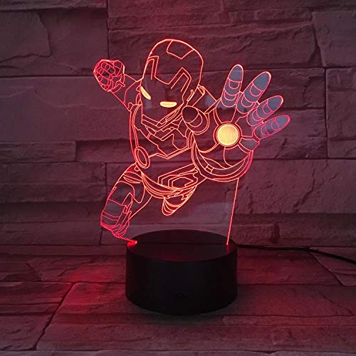 lampada iron man CYJQT Lampada Marvel Comics Superhero Iron Man Bambini Night Lights Decorazione Ragazzi Desk Lamps Per Bambini Iron Man 3D Night Lights Avengers League