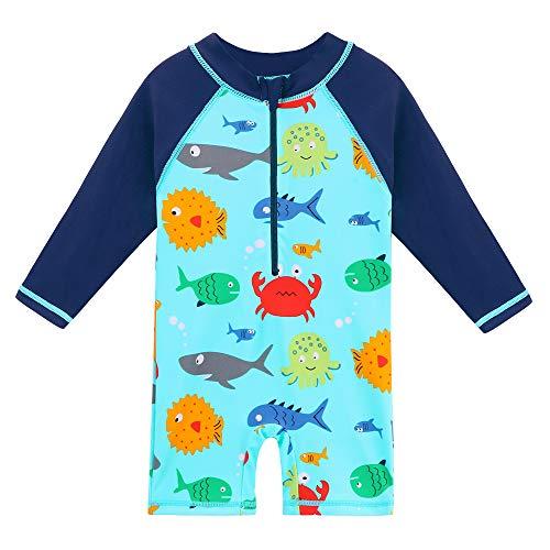 HUAANIUE Kinder Badeanzug Ärmeln Bademode Badekleidung für Schwimmen Schwimmsportbekleidung UPF 50+ UV-Schutz blau Meereslebewesen 0-6 Jahre