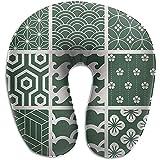 Schiuma di Memoria per cuscino per Collo a Forma di U a Trama Verde, cuscino per cuscino da viaggio, cuscino traspirante, morbido e confortevole regolabile