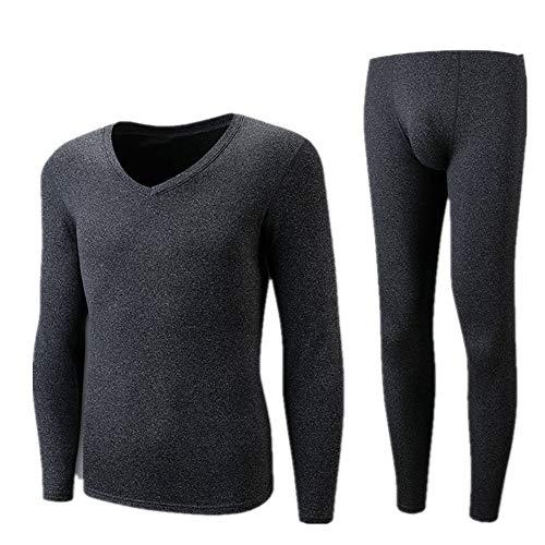 Los hombres de otoño ropa y pantalones catiónico cuello en v térmica ropa interior de los hombres de forro polar térmico traje de dos piezas conjunto