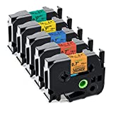 Labelife Compatible Label Tape Replacement for Brother P-Touch TZe Label Tape 18mm 0.7 Inch Laminated (Black on Orange/Red/Blue/Yellow/Green) for P Touch D400 D600 1880 Label Maker, 3/4 inch, 5-Pack