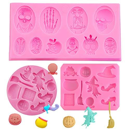 SUNSK Moldes de Pastel de Silicona Fondant 3D Halloween Moldes de Cráneo Molde para Hornear Tartas Dulces Chocolate Jabón Moldes 3 Piezas