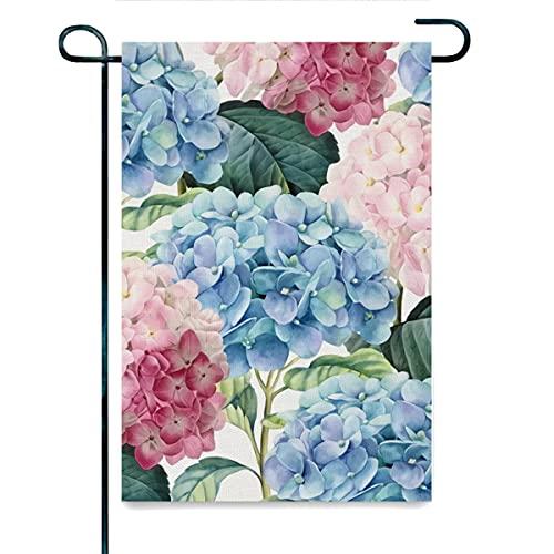 Gartenflagge aus Flachs, rosa und blau,...