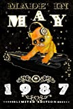 Made In May 1987-Limited Edition Notebook: Cat On DJ Playing Music With Disco Light Compostion, May Planner: Funny Kitty Cat Dj And Disco Lights Journal-May Planner