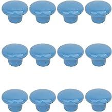 Creatwls 12 STKS Blauwe Lade Kast Knoppen Garderobe Thuis Keuken Hardware Knop Kleurrijke Ronde Keramische Trek Handvat - L