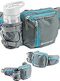 Aquatic Way Waist Bag Fanny Pack with Water Bottle Holder For Men Women Running Hiking Travel Biking - Fit All Phone Sizes Wallet Passport Key - Extra Waist Pockets Lightweight Adjustable (Grey)