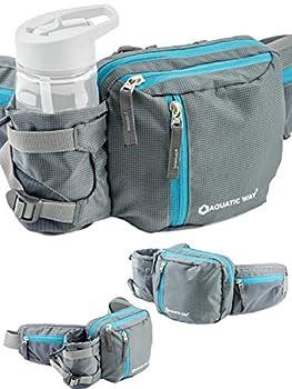 Aquatic Way Waist Bag Fanny Pack with Water Bottle Holder For Men Women Running Hiking Travel Biking - Fit All Phone Sizes Wallet Passport Key - Extra Waist Pockets Lightweight Adjustable  Grey