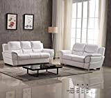 Esofastore Modern Attractive Comfort Classic White Leather Air Sofa and Loveseat 2pc Sofa Set Living Room Furniture
