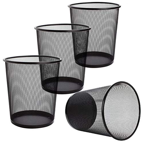 LAWEI 4 Pack Trash Can Mesh Round Open Top Wastebasket - 2.5 Gallon Recycling Bins Garbage Waste Baskets for Office Home