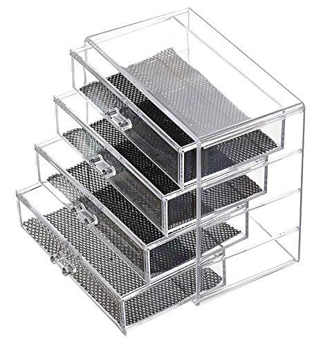 Glenmore Cassettiera Porta Trucchi Organizer Make up Contenitore Cosmetico Trasparente Contenitore 4 Cassetti