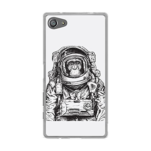 BJJ SHOP Transparente Hülle für [ Sony Xperia Z5 Mini Z5 Compact ], Flexible Silikonhülle, Design: AFFE Astronaut in Bleistift