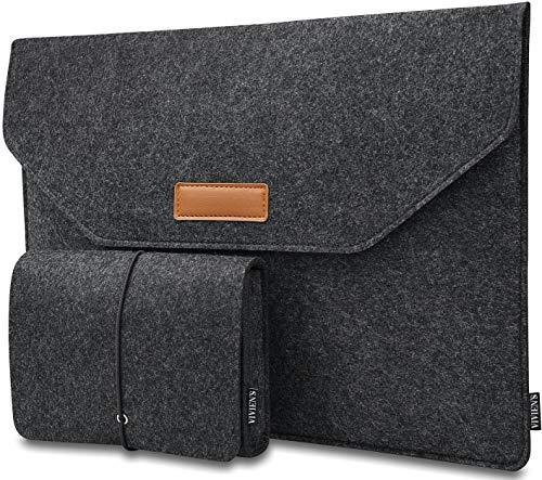 VIVIEN\'S 17,3 Zoll Laptoptasche Filz (Designed in Germany), Notebook Tasche Damen und Herren, Laptop Taschen aus Filz für Laptop 17 Zoll, geeignet für ALLE Hersteller (Dunkelgrau, 17,3 Zoll)