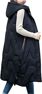 ReooLy Women's Hooded Down Vest Coat, Oversized Sleeveless Portable Quilted Vest For Women Windproof Packable Tops Winter ...