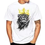 Tefamore T-Shirt Hommes Impression Chemise Manche Courte T-Shirt Blouse (M, Blanc)