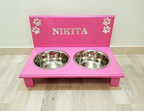 Hunde Futterbar. Frei gestalten mit Wunschname und Deko. Hundenapf für große Hunde. Napf Hund. Futterbar Hunde in pink. 2 x 1500 ml Edelstahlnapf (N106)