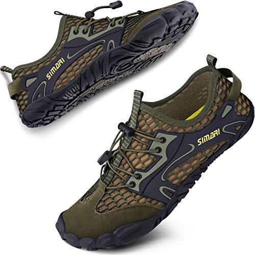 SIMARI Water Shoes Womens Mens Sports Quick Dry Barefoot for Swim Diving Surf Aqua Pool Beach Walking Yoga 324 Green