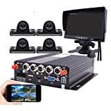 JOINLGO 4CH GPS WiFi 1080P AHD Mobile Vehicle Car Dvr Security Camera System with 4Pcs Mini 2.0MP Car Cameras with Night Vision, Weatherproof, Motion Detection, Remote Monitor for Truck Bus RV