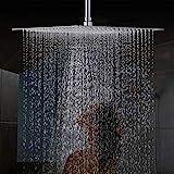 Drenky 16 pouces / 40cm Carré fixe tête de douche en acier inoxydable 304 miroir face à 180 ° rotatif puissant Haute pression Spray de pulvérisation de salle de bains