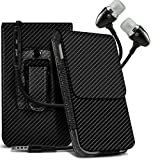 N4U Online - Blackberry Q20 Classic Carbon Fibre Pouch Belt Holster Skin Case Cover & Handsfree With Mic