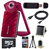 6Ave Casio EX-TR50 Self Portrait/Selfie Digital Camera (Red) + 16GB microSD Memory Card + Micro HDMI Cable + SDHC Card USB Reader + Memory Card Wallet + Deluxe Starter Kit Bundle