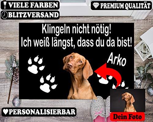 SPIRITSHIRTSHOP Personalisiert Individuell Fußmatte Füße Pfoten Abdruck Name Haustier Tier Foto - Geschenk Hund Katze