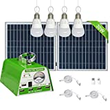 GVSHINE [30W Panel Foldable] Solar Panel Lighting Kit, Solar Home DC System Kit for Emergency, Hurricane, Power Outage with 5 USB...