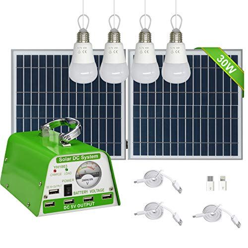 GVSHINE [30W Panel Foldable] Solar Panel Lighting Kit, Solar Home DC System Kit for Emergency, Hurricane, Power Outage with 5 USB Solar Charger LED Light Bulb and 5 Cellphone Charger/5V 2A Output