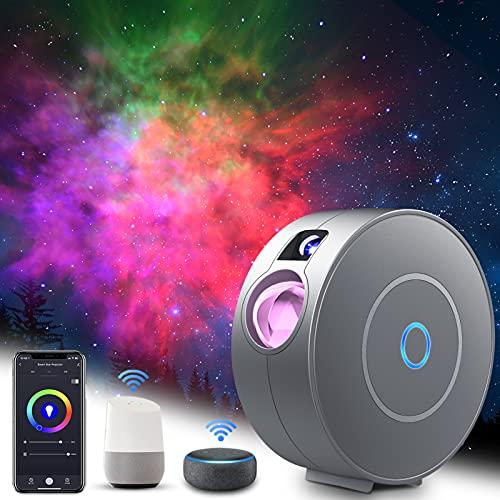LED Alexa Sternenhimmel Projektor, ZOTO Blue Stars+RGB Dimming Sternenlicht Projektor Lamp, Unterstützt Sprachsteuerung und Timing-Funktion, Kompatibel Alexa Google Assistant, Nachtlicht für Baby Gift