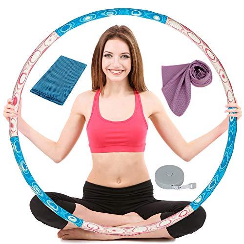 OOTO Hula Hoop Reifen Erwachsene, Hulahoopreifen für Erwachsene Fitness, Hoola Hoop Reifen mit Sporthandtuch und Maßband, 1-4 kg Verstellbar Hullahub Reifen zum Abnehmen