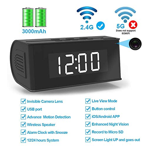 Hidden Camera WiFi Alarm Clock,FUVISION Wireless Speaker Covert Camera with Night Vision,Motion...
