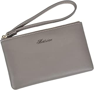 Women Small Wallet Lady Slim Clutch Purse Lightweight Leather Card Case Holder with Wristlet