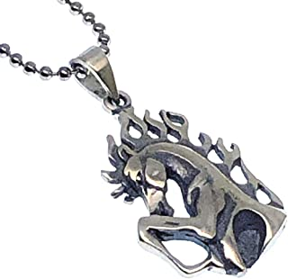 Racing Horse on Flame Mane Mustang Rider Pewter Pendant Necklace Charm Amulet w Silver Ball Chain