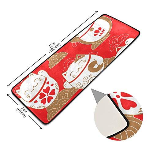 XiangHeFu Matten-vloerbedekking, zacht plafond, antislip, met gelukkige kattensymbool, naadloos patroon, antislip