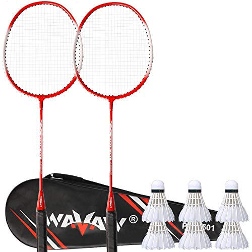 Badmintonracket volwassenen heren en dames duurzaam kinder beginnerspak-Rood twee +6 badminton_674mm
