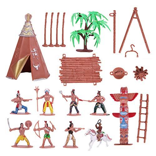 TOYANDONA Figuras indias de plástico Playset juguete figuras nativas americanas con Totem tienda de caballo Kit en miniatura Cowboy salvaje West para niños como regalo de