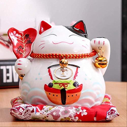 VFJLR 4,5 Pouces en céramique Maneki Neko Statue Chanceux Chat Tirelire Fortune Chat Figurine...
