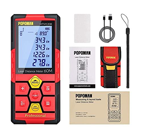 Télémètre laser avancé 60m POPOMAN, Mesure laser avec LCD-écran, 30 Stockage de Données, Capteur Électronique Angulaire, Fonction Mute, m/in/ft/ft+in, Pythagore, Distance, Surface et Volume - MTM120B