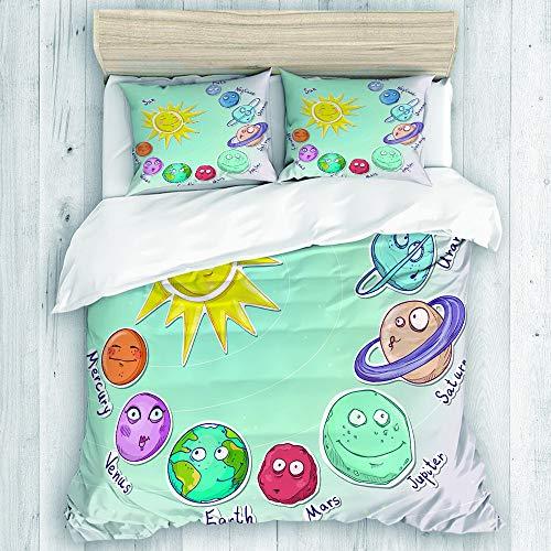 TONKSHA Bedding Juego de Funda de Edredón,Espacio, Cute Cartoon Sun y Planetas del Sistema Solar Divertido Celestial Chart Baby Kids Nursery Theme,Microfibra SIN Relleno,(Cama 200x200 + Almohada)