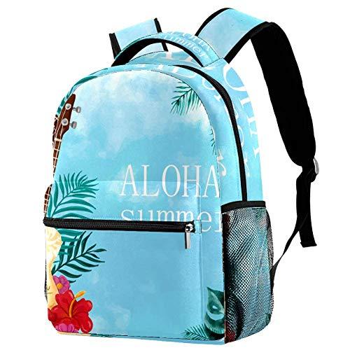 LORVIES Aquarell Gitarre Aloha Casual Rucksack Schulterrucksack Büchertasche für Schule Studenten Reisetaschen