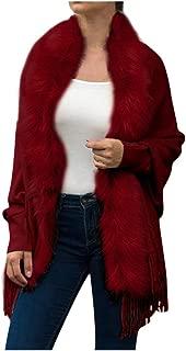 Women's Poncho Cape Winter Scarf Faux Fur Stoles Faux Fur Cardigans Tassels Scarf Cape Faux Fur Top with Tassel