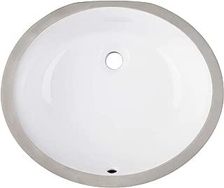 Enbol EUO1714 White Modern Oval Undermount Porcelain Ceramic Lavatory Bathroom Vanity Sink with Overflow