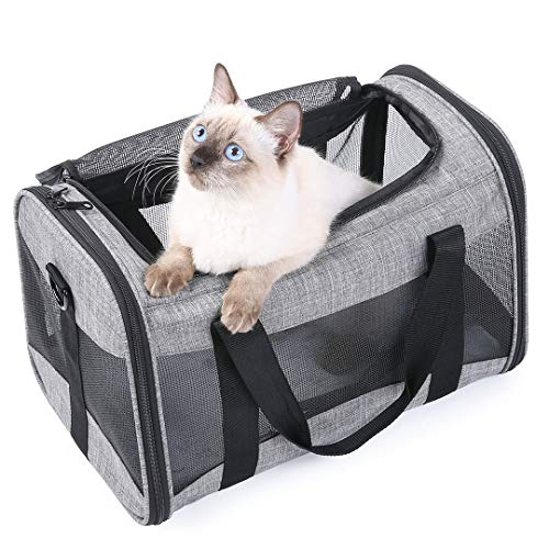 LucaSng Airline Approved Puppy Carrier Cat Carriers for Small Cats Under 25 Lbs. Soft Dog Crate(16.5x10.5x10.5'') Carriers Soft-Sided