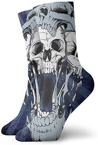 tyui7 Calcetines de compresión antideslizantes con estampado de calavera floral Calcetines deportivos de 30 cm acogedores para hombres, mujeres, niños